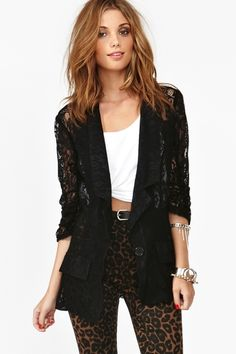 Ruched Lace Blazer--Love this. Cool Outfits, Summer Outfits, Casual Outfits, Fashion Outfits, Summer Clothes, Blazers, Lace Blazer, Lace Jacket, Love Fashion