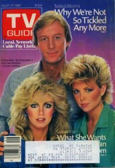 """TV Guide July 1984 ~ Donna Mills, Ted Shackelford and Lisa Hartman of """"Knots Landing"""" Guide Tv, Donna Mills, X Movies, Knots Landing, Music X, Vintage Television, Kino Film, Tv Land, Old Tv Shows"""