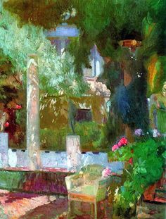 Joaquin Sorolla y Bastida (1863-1923) - Rose Bush at the Sorolla House