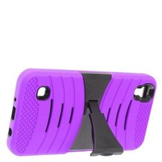 Insten Wave Symbiosis Gel Rubber Hard Case w/stand For LG Tribute HD / X Style - Purple/Black