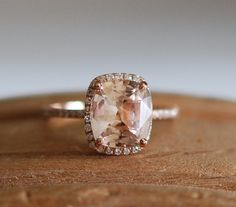 Rose gold engagement ring 3.68ct champagne by EidelPrecious