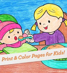 Show big sister how to help feed baby sister with this coloring page. #Crafts #Activity