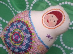 Silvia - cloth matryohska doll with mandala
