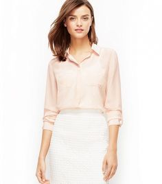 Ann Taylor Dotted Silk Camp Shirt in Amour Pink