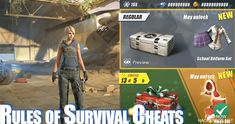 Rules of Survival Hack Cheat Mod Generate Unlimited Coins and Diamonds with Auto Aim and Wall Hack. Cheat Engine, App Hack, Android, Ios, Game Resources, Game Update, Website Features, Test Card, Free Gems