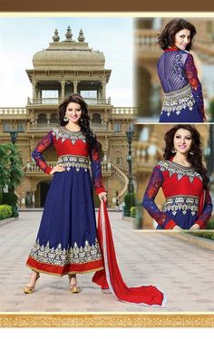 Picture of Aesthetic Blue and Red Color Anarkali Suit