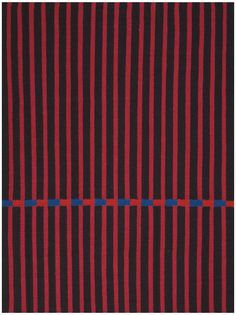 CK751 Magenta   This Dynamic Flat Weave Rug Features Slim, Vibrant Red And Black  Stripes Accented By A Band Of Alternating Blue And Red.