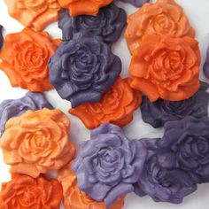 12 Purple Orange Dark Mix Sugar Roses edible sugarpaste flowers cake decorations - a striking combination for a wedding cake!