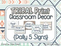 """Use these TRIBAL PRINT Daily 5 signs for a bulletin board or to organize sections of your classroom. Includes Read to Self, Read to Someone, Listen to Reading, Word Work, and Work on Writing. Look for other matching tribal print decor and classroom products in my store, Dudge Designs.""""The Daily 5 and CAFE"""" are trademark and copy written content of Educational Design, LLC dba The 2 Sisters."""
