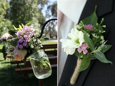 Vintage Country Wedding, glass jars and fresh flowers