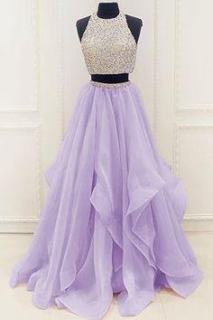 prom dresses,New Arrival Prom Dress,Modest Organza Prom Dresses,2017 Stunning Sequins prom dress,Beaded Top Ruffles Two Piece Prom Dress 2017,prom dress