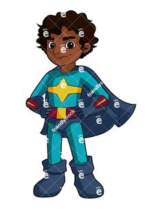 A Black Boy Superhero With A Cape: Royalty-free stock vector illustration of a black young boy smiling and wearing a superhero costume. #tag #schoolboy #black #friendlystock #clipart #vector #art #graphic