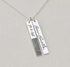Personalized Fingerprint Bar Necklace  Handwriting Necklace - Jewelry for everyday. High quality low prices! Made in England designer jewelry. Sterling silver