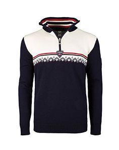 Dale of Norway Men's Lahti Masculine Sweater, Navy/Raspberry/Off White, XX-Large