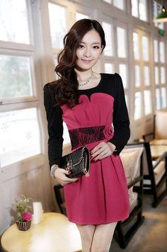 Dress DS3566 Rose Red - Tamochi - Toko baju wanita murah dan grosir, fashion aksesoris korea dan