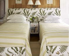Use an over-sized upholstered headboard to unify two twin beds and divide them with a single night stand. For a more fluid look, use the extra fabric for bed Nature Inspired Bedroom, Plywood Furniture, Modern Furniture, Furniture Design, Camas King, Two Twin Beds, Double Beds, Simple Bed, Bedroom Bed