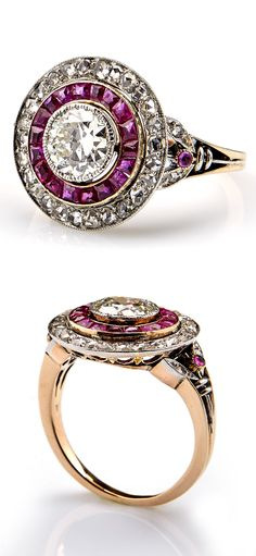 A Belle Epoque platinum, gold, ruby and diamond ring, early 20th century. #BelleÉpoque #ring