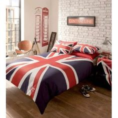 London Reversible Union Jack Red White Blue Single Duvet Quilt Cover Bedding…