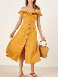 Sexy Off-the-shoulder Falbala Button Front Midi Dress - Vamfo Cute Dresses, Vintage Dresses, Casual Dresses, Summer Dresses, Maxi Dresses, Yellow Wedding Dress, Yellow Dress, Dress Wedding, Dress Outfits