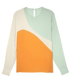 Shop the color-block trend at #ShopBAZAAR - Stella McCartney Silk Bi-Color Top