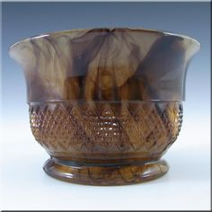 A wonderful Art Deco amber Cloud Glass bowl (no plinth or flower frog). Made by British company Davidson in the 1930's, pattern number 1907 T.