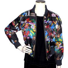 Vintage 1993 Nicole Miller Silk Bomber Style Jacket World Traveler Print available at My Vintage Clothes Line on Ruby Lane.