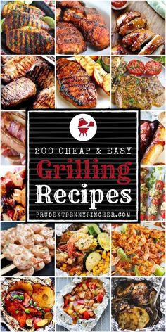 200 Cheap and Easy Grilling Recipes. 200 Cheap and Easy Grilling Recipes From grilled chicken and hamburgers to grilled veggies, this is the ULTIMATE roundup of the BEST grilling recipes that are budget-friendly and easy to make! Summer Grilling Recipes, Easy Summer Meals, Grilling And Bbq, Best Food Recipes, Summer Meal Ideas, Healthy Summer Dinner Recipes, Grilling Ideas, Grilled Veggies, Grilled Chicken Recipes