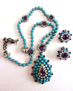 Turquoise Milk Glass Bead Necklace-Earring Set, Amethyst Clear Rhinestones, Lavalier Vintage