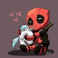 T shirt idea (suitable for Deadpool and unicorn) - drawings with hearts - . T shirt idea (suitable for Deadpool and unicorn) – drawings with heart – Deadpool Chibi, Deadpool Et Spiderman, Deadpool Unicorn, Deadpool Love, Chibi Marvel, Deadpool Funny, Marvel Art, Marvel Dc Comics, Deadpool Quotes