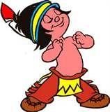 IN EEN TIPI  In een tipi hier ver vandaan,  woont mijn vriendje Volle Maan.  Op zijn hoofd draagt hij veren  en hij jaagt op wilde beren.  Aan zijn voeten zijn sandalen  en aan zijn hals gekleurde kralen.  Als hij praat, kan ik hem niet verstaan  want mijn vriendje is een indiaan.