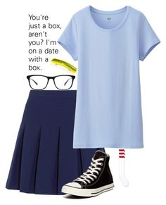 """Halloween Costumes: Tina Belcher"" by secretsoftheslytherin ❤ liked on Polyvore featuring American Apparel, Diane Von Furstenberg, Converse, Uniqlo and Joseph Marc"