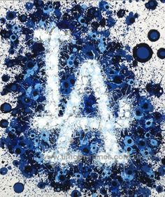 A poster print of an abstract art version of the Dodgers logo. Dodgers Gear, Let's Go Dodgers, Dodgers Nation, Dodgers Baseball, Los Angeles Wallpaper, Los Angeles Dodgers Logo, Baseball Painting, Baseball Wallpaper, Mlb Postseason