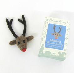 Needle Felting Brooch Kit - Rudolph Reindeer