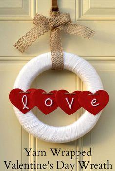 Yarn Wrapped Valentine's Day Wreath  |  Use yarn to create a festive Valentine's Day Wreath