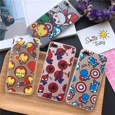 Luxury Fundas Phone Cases for iPhone 7 6 6S Plus SE 5 5S All Protector Cover Cartton Avengers Ironman Spiderman Captain America