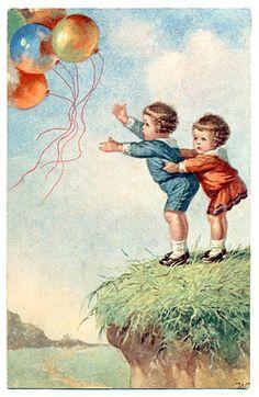 Children and balloons  Wally Fialkowska