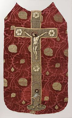 Chasuble Back - Silk and linen raised embroidery applied to cut and voided silk velvet with metallic brocade - Velvet from Venice or Florence, Italy; embroidered orphrey from Germany or Bohemia - 1425-1430 (velvet), 1490-1510 (embroidery)