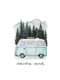 "VW Bus ""Adventure awaits"" Road trip to the mountains, original art print - VW B . - VW Bus ""Adventure awaits"" Road trip in the mountains, original art print – VW Bus ""Adventure awai - Inspiration Art, Art Inspo, Adventure Awaits, Adventure Travel, Adventure Quotes, Photos Amsterdam, Painting & Drawing, Watercolor Paintings, Bus Drawing"
