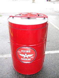 Free standing bar, red powder coat, aluminum accents http://www.drumworksfurniture.com/