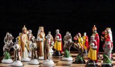 Handmade Tin Chess Set Crusaders - hand painted, inspired by the period of Templar expeditions to the Holy Land during the 10th-11th centuries. It is characterized by figures with a templars motif.  The tin pieces have an amazing heavy feel and inspiring presence.  Chess set of 32 figures, weight 5.8 Kg. Shapes sizes: King - 11,5 cm, and weight 300 gr., Pawn - 7 cm and weight 130gr