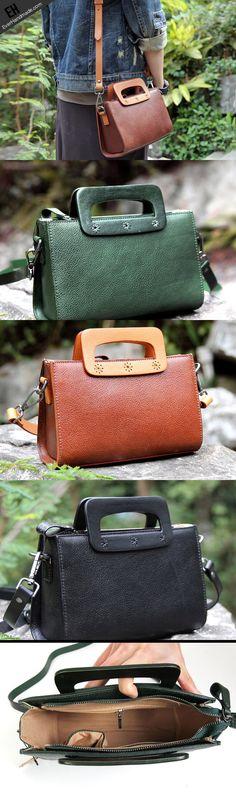 Handmade vintage satchel leather crossbody bag shoulder bag handbag for women
