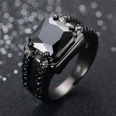 Buy Bamos Gorgeous Male Black Ring High Quality Gold Filled Jewelry Vintage Wedding Rings For Men Boyfriend Father Gift Gothic Wedding Rings, Wedding Rings Vintage, Vintage Rings, Vintage Jewelry, Wedding Bands, Black Gold Jewelry, Gold Filled Jewelry, Black Rings, Deco Engagement Ring