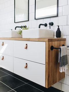 Ikea Hacks: Three ideas for your leftover countertops — Mountainside Home - Ikea DIY - The best IKEA hacks all in one place Ikea Hack Bathroom, Ikea Bathroom Vanity, Ikea Hack Kitchen, Modern Bathroom, Vanity For Small Bathroom, Ikea Hack Vanity, Master Bathroom, Ikea Kitchens, Neutral Bathroom