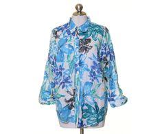 Lauren Ralph Lauren Aqua Blue Floral Sheer Woven Button 3/4 Sleeve Blouse XL #LaurenRalphLauren #Blouse #Casual