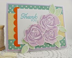 MFT: Blooming Roses stamp set and die-namics, Simply Scallops die-namics. http://simplyhandmadebyheather.blogspot.com/2014/05/sherbet-thank-you.html