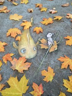 If you need a little bit of beauty and coziness, street art by David Zinn is absolutely for you. 18 examples of autumn street art by street artist David Zinn. 3d Street Art, Amazing Street Art, Street Art Graffiti, Street Artists, Graffiti Artists, David Zinn, Urbane Kunst, Illustrator, Sidewalk Chalk Art