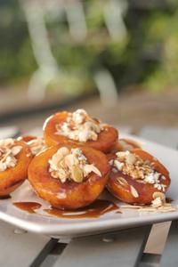Heleen Meyer / RECIPES / Alfresco summer recipes / Pan-fried peaches with ricotta. I will make this with mascarpone custard and cinnamon butter drizzle! YUM