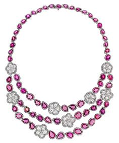 The Avakian pink sapphire and diamond necklace worn by Kelly Preston on day seven of the Cannes Film Festival 2014.