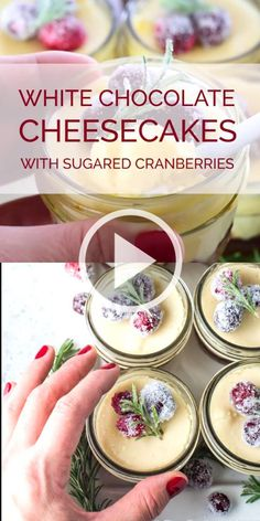 SAVE FOR LATER! These delicious White Chocolate Mini Cheesecakes are perfect for holiday entertaining. They have a cookie crumb crust, an easy to make cranberry jam layer, and the creamiest cheesecake that's lightly flavored with white chocolate. Mini Chocolate Cheesecake, Mini Cheesecake Recipes, Chocolate Jar, White Chocolate Desserts, Cranberry Cheesecake, Cheesecake In A Jar, Mango Cheesecake, Christmas Cheesecake, Chocolate Blanco