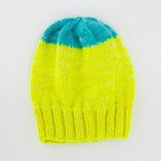 zee ski hat . neon blue and neon yellow . handknit by KelleyAnnZee, $42.00 : neon knits
